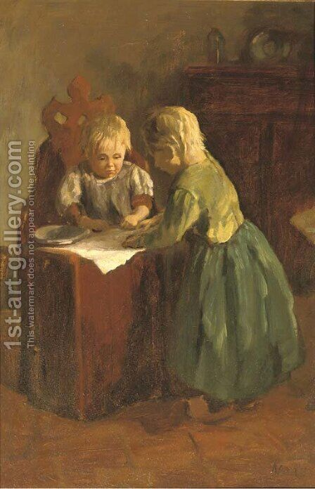 Little sisters by Jacob Simon Hendrik Kever - Reproduction Oil Painting
