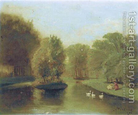 Vijver in het Vondelpark, Amsterdam by Jacob Taanmann - Reproduction Oil Painting