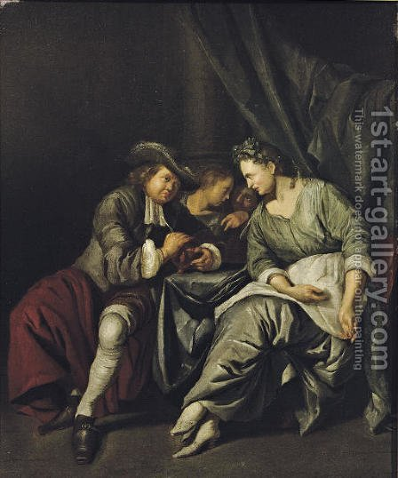 A couple conversing in an interior by Jacob Toorenvliet - Reproduction Oil Painting