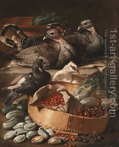 Turkeys and pigeons with cherries by Jacob van der (Giacomo da Castello) Kerckhoven - Reproduction Oil Painting