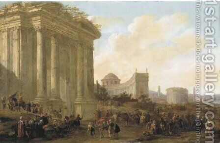 A capriccio of classical architecture in a town with soldiers and oriental merchants by Jacob Van Der Ulft - Reproduction Oil Painting