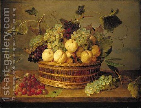 Grapes on the vine and peaches in a basket on a table, with a butterfly, beetle and fly on a wooden ledge by Jacob van Hulsdonck - Reproduction Oil Painting