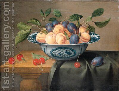 Plums and nectarines in a porcelain bowl with cherries on a partly draped table by Jacob van Hulsdonck - Reproduction Oil Painting