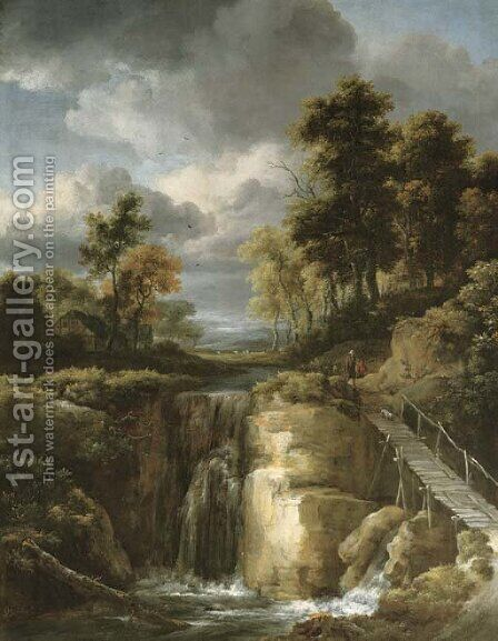 A wooded river landscape with a waterfall and figures by Jacob Van Ruisdael - Reproduction Oil Painting