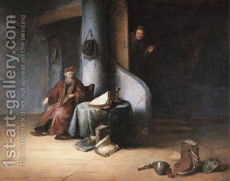 A scholar in his study by Jacob van Spreeuwen - Reproduction Oil Painting