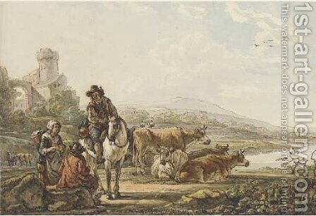 An extensive river landscape with peasants and cattle by Jacob van Strij - Reproduction Oil Painting