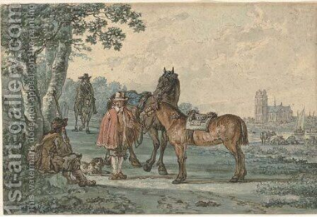 Horsemen on a path with Dordrecht in the distance by Jacob van Strij - Reproduction Oil Painting