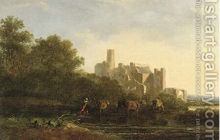 A drover herding cattle before a ruined castle by Jacob Van Stry - Reproduction Oil Painting