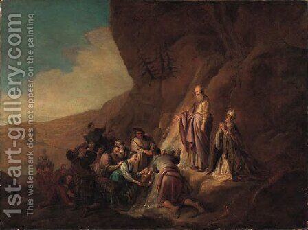 Moses Striking the Rock by Jacob Willemsz de Wet the Elder - Reproduction Oil Painting
