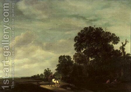 A wooded landscape with travellers in a horse-drawn cart on a path, figures in a rowing boat nearby by Jacobus Coert - Reproduction Oil Painting