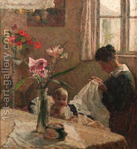 A sunlit interior with a mother sewing by a baby by Jacobus Frederik Sterre De Jong - Reproduction Oil Painting