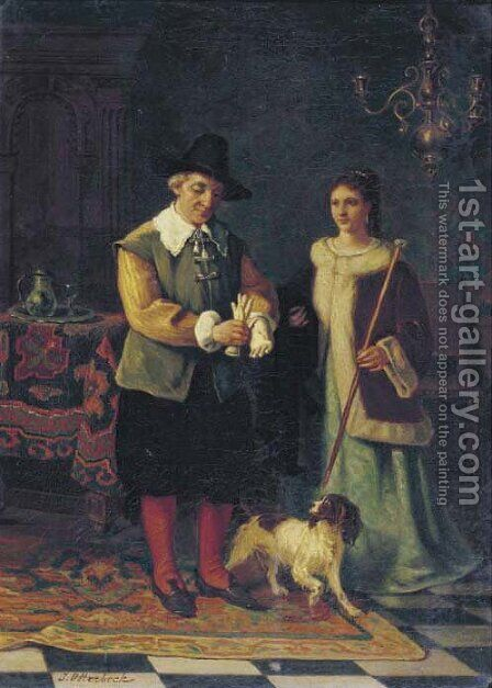 Taking the dog for a walk by Jacobus Hermanus Otterbeek - Reproduction Oil Painting