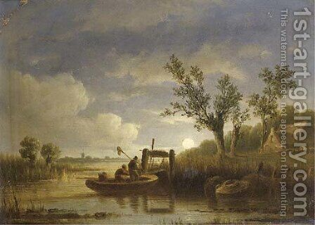 Fishermen at work by moonlight by Acobus Loernsz. Sorensen - Reproduction Oil Painting