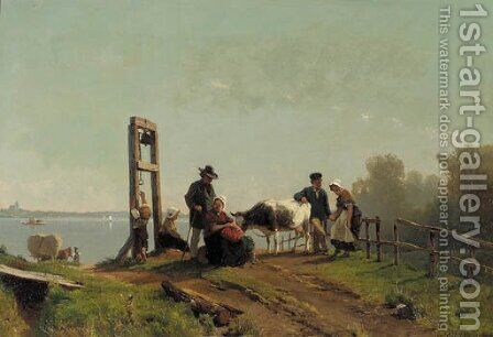 Peasents waiting for a ferry, lower Rhine by Jacobus Nicolaas Tjarda Van Stachouwer - Reproduction Oil Painting