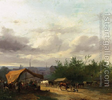 A cattle-market with factories in a town beyond by Jacobus Pelgrom - Reproduction Oil Painting