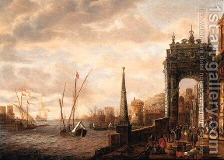 A Capriccio of a Mediterranean harbour with merchants and travellers on a quay by a gate, galleys and other shipping beyond by Jacobus Storck - Reproduction Oil Painting