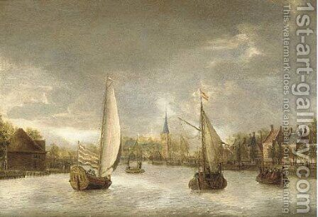 A town on the Vecht with a yacht, a ferry and other boats by Jacobus Storck - Reproduction Oil Painting
