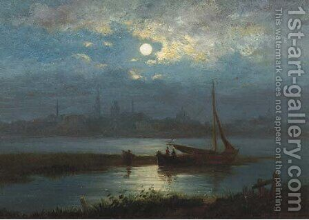 A moonlit riverlandscape with a town in the distance by Jacobus Theodorus Abels - Reproduction Oil Painting