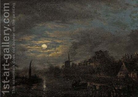 Boatmen on a moonlit waterway by Jacobus Theodorus Abels - Reproduction Oil Painting