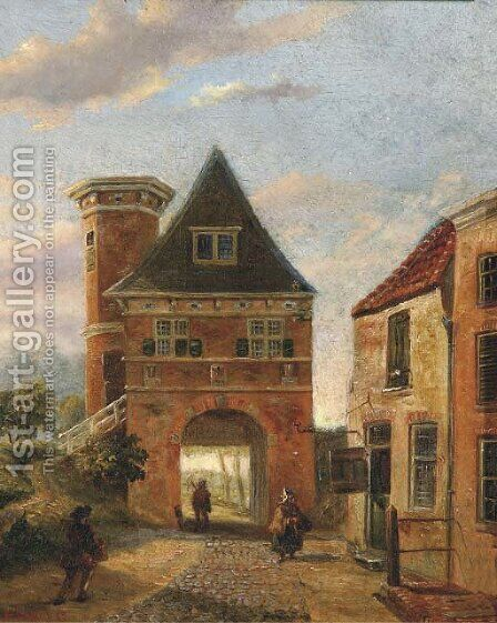 View of a town gate by Jacobus Van Jr Gorkom - Reproduction Oil Painting