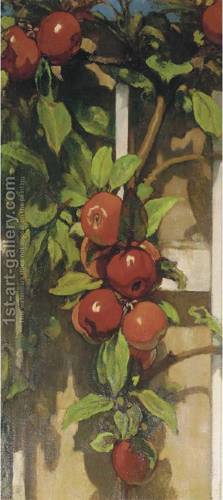 Apples on a trellis by Jacobus Van Looy - Reproduction Oil Painting