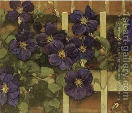 Clematis tegen hekwerk flowering Clematis by Jacobus Van Looy - Reproduction Oil Painting