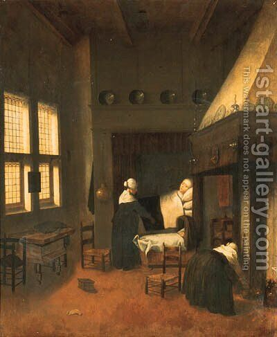 A bedroom with a woman in bed, her child in a cot and nurses by Jacobus Vrel - Reproduction Oil Painting