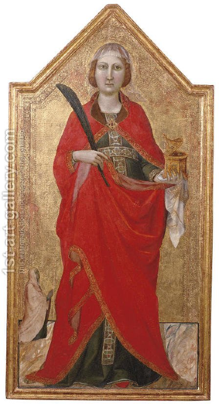 Saint Lucy with a female patron by Jacopo Del Casentino - Reproduction Oil Painting