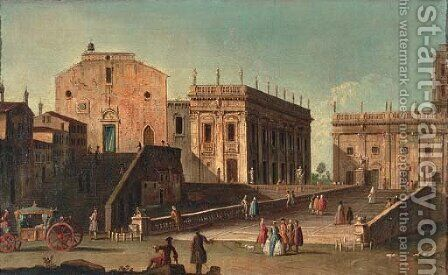 View of Santa Maria in Aracoeli and the Campidoglio, Rome by Jacopo Fabris Venice - Reproduction Oil Painting