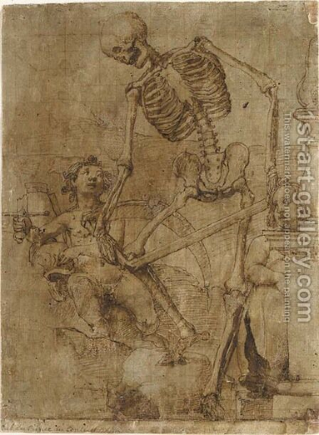 Death breaking his scythe, and two putti by Jacopo Ligozzi - Reproduction Oil Painting