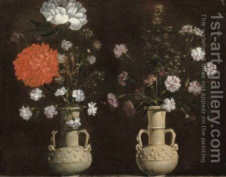 Two grey terracotta vases with flowers by Jacopo Ligozzi - Reproduction Oil Painting
