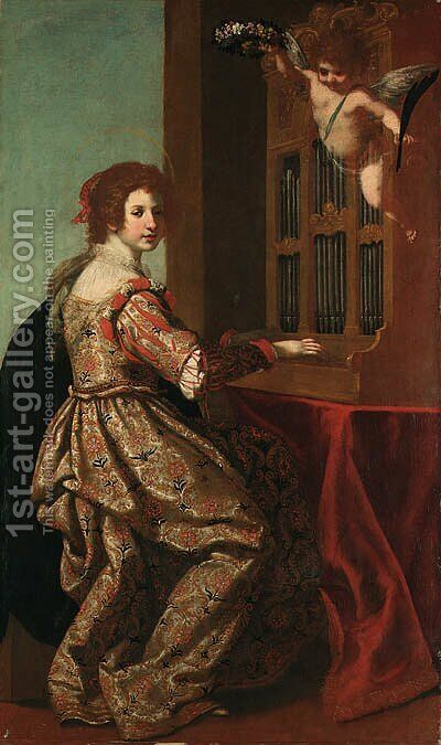 Saint Cecilia by Jacopo Vignali - Reproduction Oil Painting