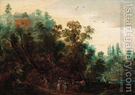 A wooded landscape with travellers on a path by Jacques Backereel - Reproduction Oil Painting