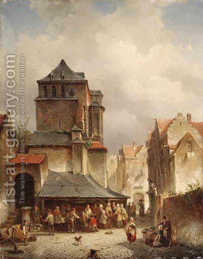 A Bustling Marketplace by Jacques Carabain - Reproduction Oil Painting