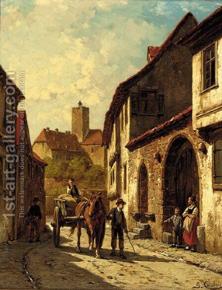 A horse and cart on a continental backstreet by Jacques Carabain - Reproduction Oil Painting