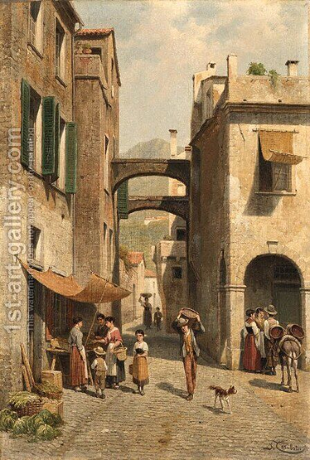 A sunny street scene by Jacques Carabain - Reproduction Oil Painting