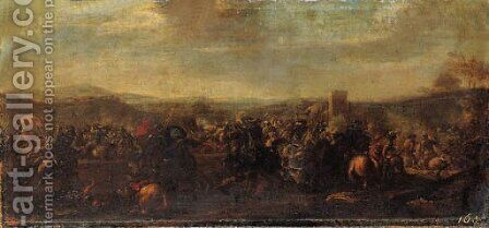 A cavalry battle between Christians and Turks, a castle beyond by Jacques (Le Bourguignon) Courtois - Reproduction Oil Painting
