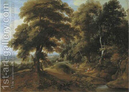 A wooded landscape with elegant figures on a path by Jacques d' Arthois - Reproduction Oil Painting