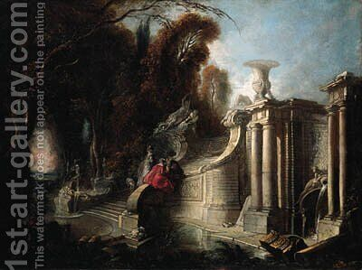A park landscape with an elegant company conversing on a staircase by Jacques de Lajoue - Reproduction Oil Painting