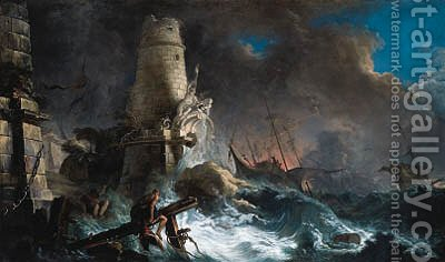 A shipwreck in stormy seas with survivors near a harbour entrance by Jacques de Lajoue - Reproduction Oil Painting