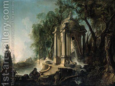 A wooded landscape with a marble pavillion and fountains, the sea beyond by Jacques de Lajoue - Reproduction Oil Painting