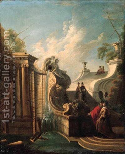 Elegant couples conversing on a staircase by a fountain by Jacques de Lajoue - Reproduction Oil Painting