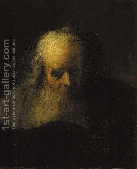 An old man reading a book by Jacques des Rousseaux - Reproduction Oil Painting