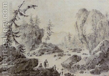 Landscape with two figures washing laundry by a river by Jacques Gamelin - Reproduction Oil Painting