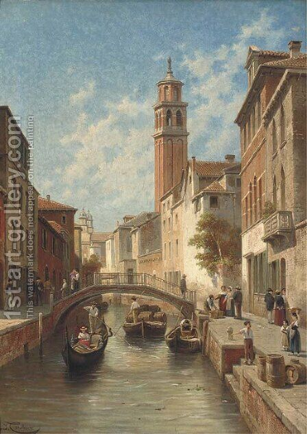 Venetian backwater by Jacques Carabain - Reproduction Oil Painting