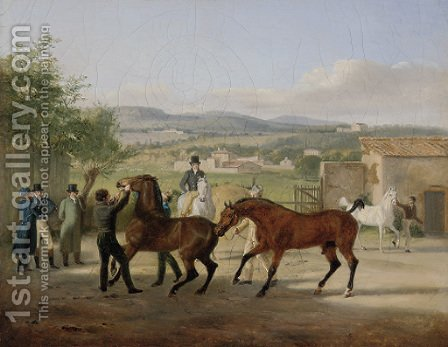 A stallion being led to a mare in a stable yard, a landscape with villas beyond by Jacques Laurent Agasse - Reproduction Oil Painting