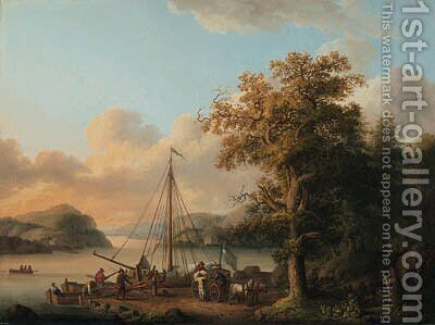 A Swedish river landscape with peasants unloading a boat by Jakob Philippe Hackert - Reproduction Oil Painting