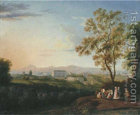 A view of the Villa Albani, Rome by Jakob Philippe Hackert - Reproduction Oil Painting