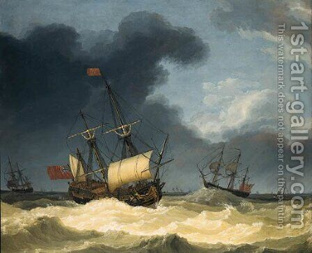 English frigates in rough seas by Jakob Philippe Hackert - Reproduction Oil Painting