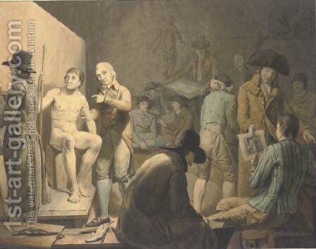 Artists at a life-drawing class by Jakob Schoenmaker-Doyer - Reproduction Oil Painting